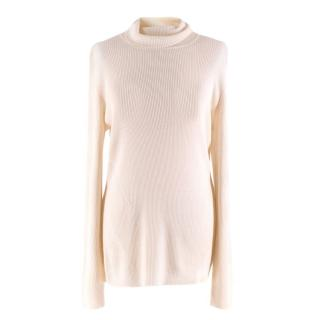 Diane von Furstenberg Merino Wool White Ribbed Knit Sweater