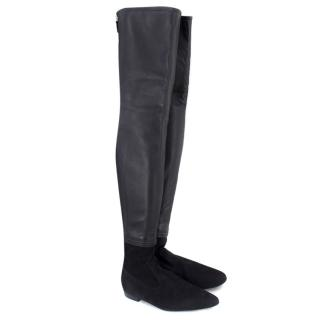 Chanel Black Leather & Suede Thigh Boots