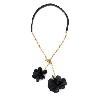 Marni Leather Black Floral Chain Drop Necklace