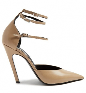 Balenciaga Slash Triple-Strap Leather Pumps