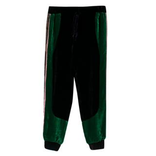 Elie Saab Velour Black & Green Lace Trim Joggers