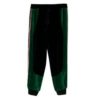 Elie Saab Velour Black & Green Lace Trim Joggers