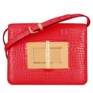 Tom Ford Natalia red alligator shoulder bag