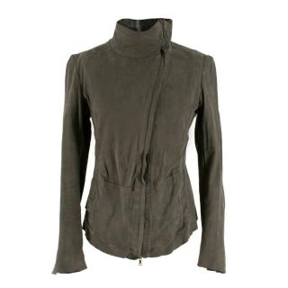 Isaac Sellam High Neck Asymmetric Grey Leather Jacket