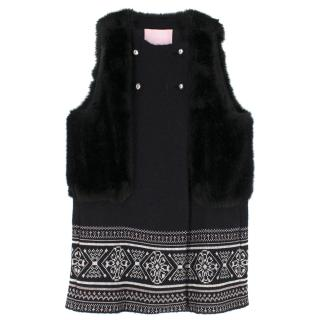 Giamba Black Wool Blend Sleeveless Embroidered Coat with Faux Fur