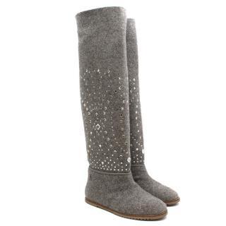 Russy Grey Felt Jewelled Knee-high boots
