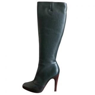 Salvatore Ferragamo Dark Green Heeled Long Boots