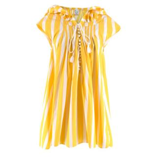 Thierry Colson Cotton Yellow & White Striped Off-shoulder Tunic Top