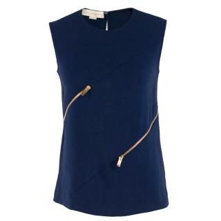 Stella McCartney Blue Top with Gold Zip Details