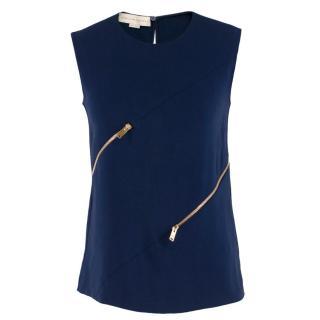 Stella McCartney Blue Top with Gold Zip Details
