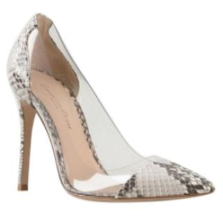 Gianvito Rossi Plexi 105 Python and PVC pumps