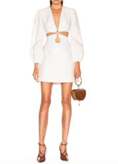 Zimmermann Corsage Braid Mini Dress in Ivory