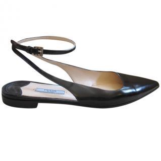 Prada Black Ankle Wrap Flat Sandals