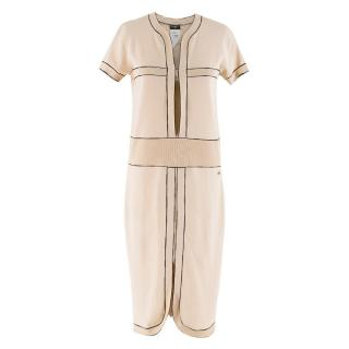 Chanel Nude Ribbed Knit Cut-Out Dress