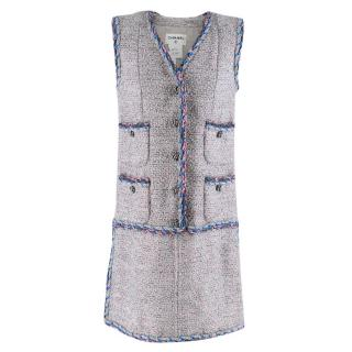 Chanel Grey & Pink Metallic Tweed Knit Dress