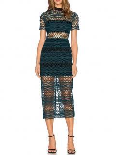 Self Portrait High Neck Column Midi Dress