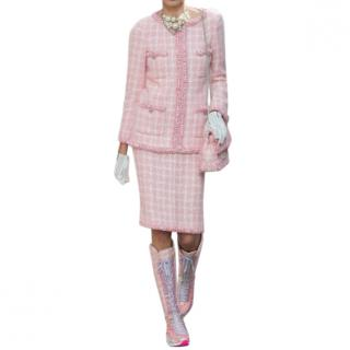 Chanel Supermarket Collection Pink & White Wool Tweed Skirt & Jacket