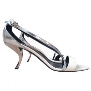 Roger Vivier White & Silver Virgule Sandals