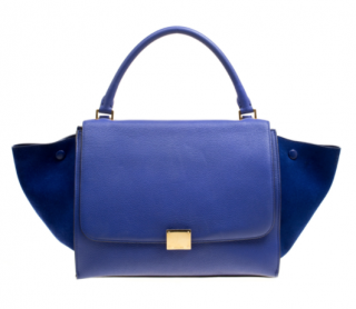 Celine Blue Leather and Suede Trapeze Tote