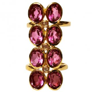 Bespoke Pink Quartz & Clear Topaz Long Ring