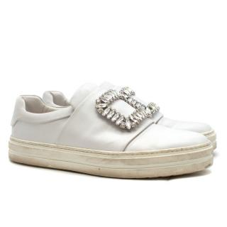 Roger Vivier White Leather Crystal Embellished Trainers