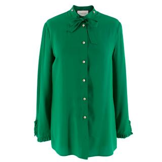 Gucci Green Silk Shirt with Pearl Buttons & Necktie