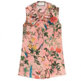 Gucci Tian Print Sleeveless Silk Top