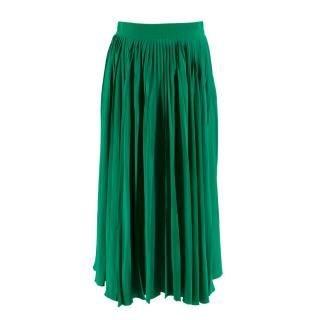 Gucci Green Silk Pleated Midi Skirt