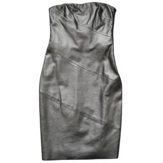 Ralph Lauren Black Label leather strapless mini dress