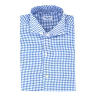Franck Namani Paris Blue Checkered Men's Shirt