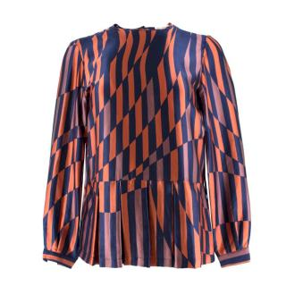 Dries Van Noten Silk Navy & Orange Blouse