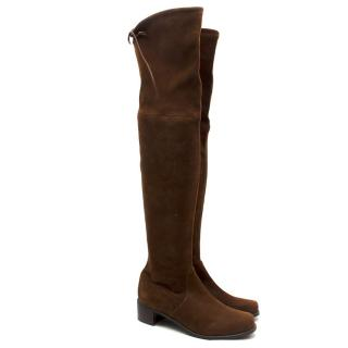 Stuart Weitzman Lowland Brown Suede Over-the-knee Boots
