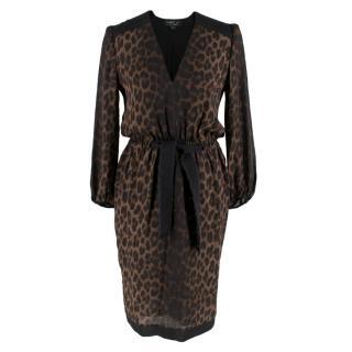 Giambattista Valli Silk Leopard Print Midi Dress