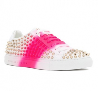 Philipp Plein White Studded Spray Paint Trainers