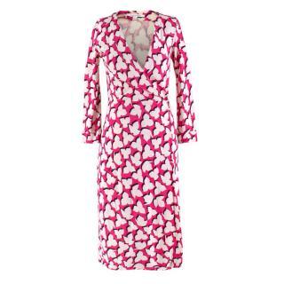 Diane Von Furstenberg Silk Pink Printed Wrap Dress