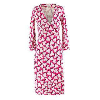 Diane Von Furstenberg Silk Pink Printed Wrap Dress