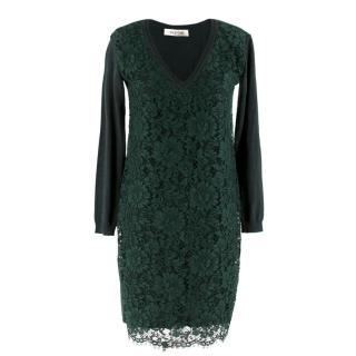 Valentino Green Lace Overlay Knit Dress