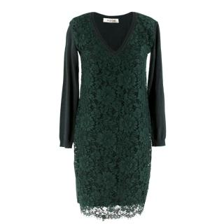 Valentino Green Lace Overlay Knit Dress