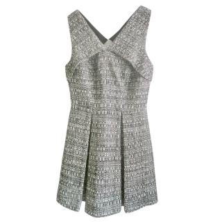 Robert Rodriquez tweed box pleat sleeveless dress