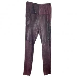 Isabel Marant Purple Leather Trousers