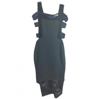 Three Floor Cut-out velvet-trim dress