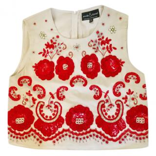 Needle & Thread Cream & Red Embroidered Crop Top, UK 10