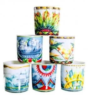 Hermes Porcelain Patchwork Collection Coffee Cup Set