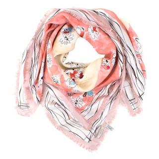 Nina Ricci Pastel Floral Silk Scarf