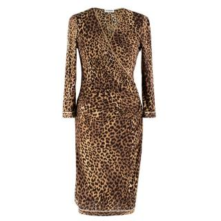 Leonard Paris Leopard Print Silk Wrap Dress