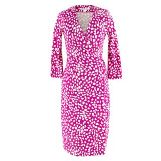 Diane von Furstenberg Silk Wrap Pink & White Dress