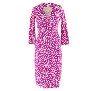 Diane von Furstenberg Silk Wrap Pink & White Dress