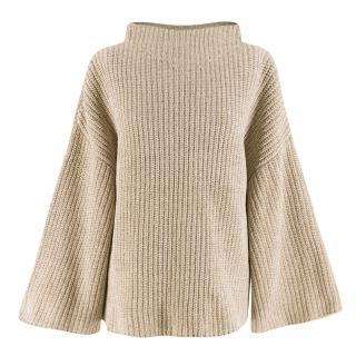 The Row Beige Silk Blend Knit Jumper
