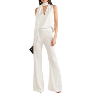 Galvan Cortado Fringed Satin Top in White