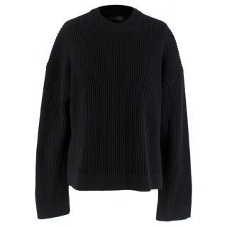 Joseph Cardigan Stitch Black Raglan Sweater